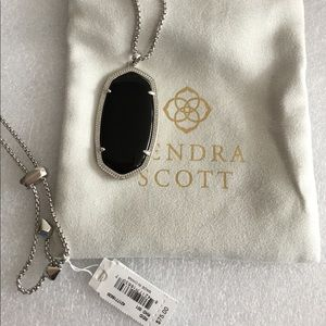 Kendra Scott REID in Silver Black Opaque Glass